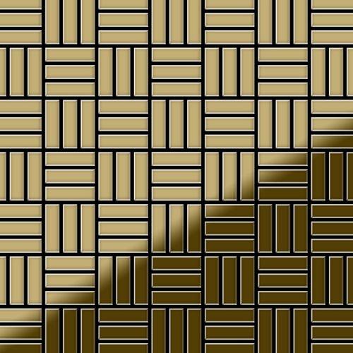 Mozaïektegels massief metaal titaan Gold hoogglanzend goud 1,6 mm dik ALLOY Basketweave-Ti-GM – Bild 1
