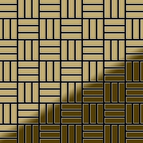 Mosaik Fliese massiv Metall Titan hochglänzend in gold 1,6mm stark ALLOY Basketweave-Ti-GM 0,82 m2 – Bild 1