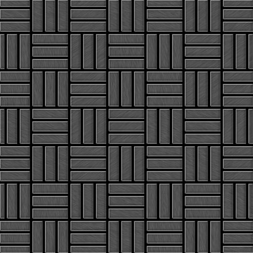 Mosaik Fliese massiv Metall Titan gebürstet in dunkelgrau 1,6mm stark ALLOY Basketweave-Ti-SB 0,82 m2 – Bild 1