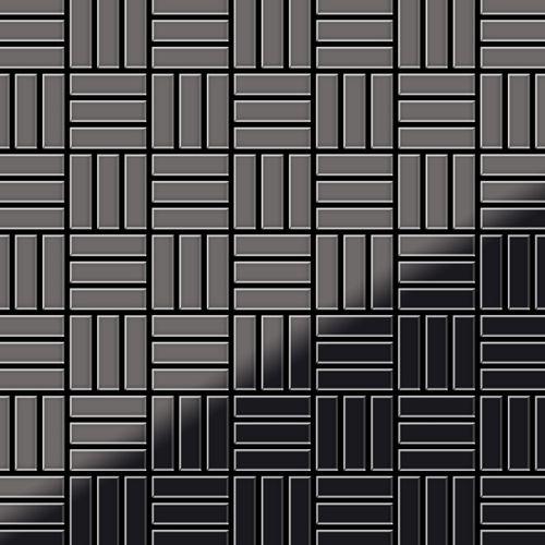 Mosaik Fliese massiv Metall Titan hochglänzend in dunkelgrau 1,6mm stark ALLOY Basketweave-Ti-SM 0,82 m2 – Bild 1