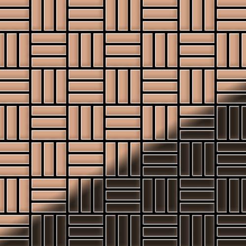 Mosaik Fliese massiv Metall Kupfer gewalzt in kupfer 1,6mm stark ALLOY Basketweave-CM 0,82 m2 – Bild 1