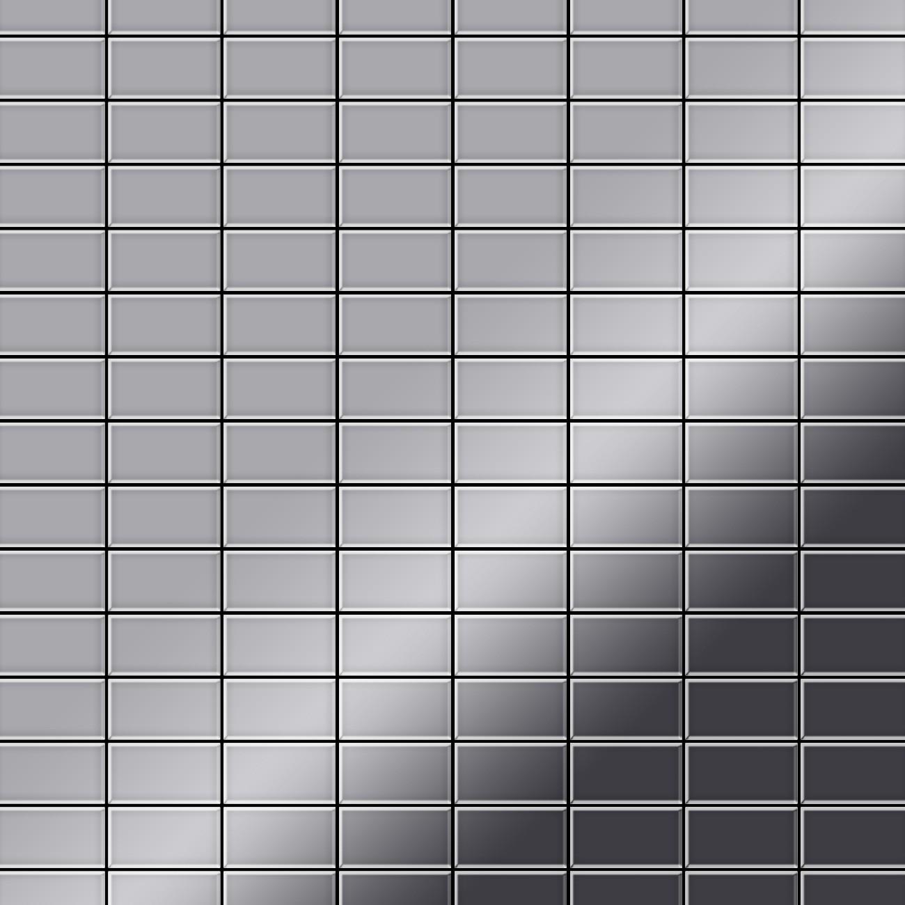 mosaik fliese massiv metall edelstahl hochglanz grau 1 6mm. Black Bedroom Furniture Sets. Home Design Ideas