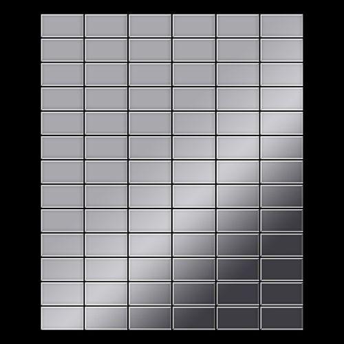 Mosaik Fliese massiv Metall Edelstahl hochglänzend in grau 1,6mm stark ALLOY Bauhaus-S-S-M 1,05 m2 – Bild 3