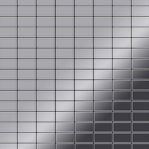 Mosaik Fliese massiv Metall Edelstahl hochglänzend in grau 1,6mm stark ALLOY Bauhaus-S-S-M 1,05 m2 – Bild 1
