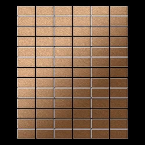 Mosaik Fliese massiv Metall Titan gebürstet in kupfer 1,6mm stark ALLOY Bauhaus-Ti-AB 1,05 m2 – Bild 3