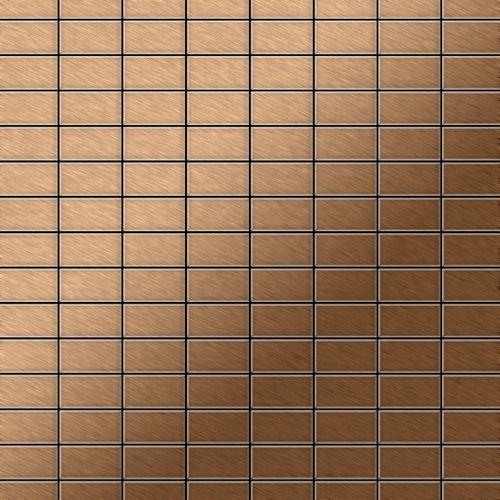 Mosaik Fliese massiv Metall Titan gebürstet in kupfer 1,6mm stark ALLOY Bauhaus-Ti-AB 1,05 m2 – Bild 1
