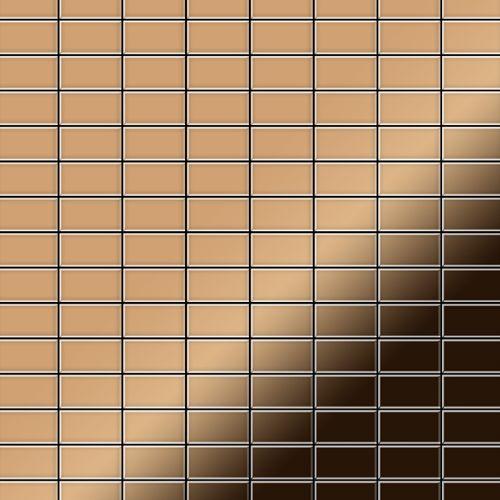 Azulejo mosaico de metal sólido Titanio Amber espejo cobre 1,6 mm de grosor ALLOY Bauhaus-Ti-AM 1,05 m2 – Imagen 1