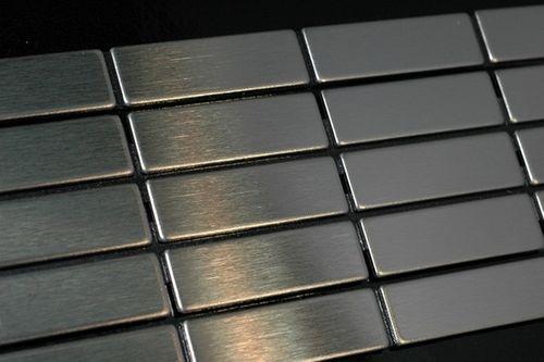 Mosaïque métal massif Carrelage Acier inoxydable brossé gris Grosseur 1,6mm ALLOY Cabin-S-S-B 1,01 m2 – Bild 4