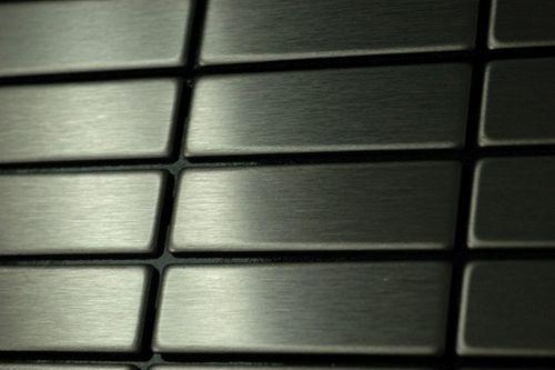 Mosaik Fliese massiv Metall Edelstahl gebürstet in grau 1,6mm stark ALLOY Cabin-S-S-B 1,01 m2 – Bild 5