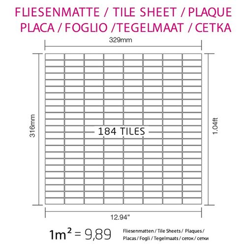 Mosaïque métal massif Carrelage Acier inoxydable matt gris Grosseur 1,6mm ALLOY Cabin-S-S-MA 1,01 m2 – Bild 4
