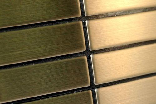 Mosaïque métal massif Carrelage Titane brossé Gold doré Grosseur 1,6mm ALLOY Cabin-Ti-GB 1,01 m2 – Bild 4