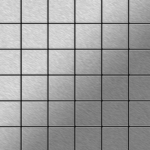 Mosaik Fliese massiv Metall Edelstahl gebürstet in grau 1,6mm stark ALLOY Cinquanta-S-S-B 0,94 m2 – Bild 1