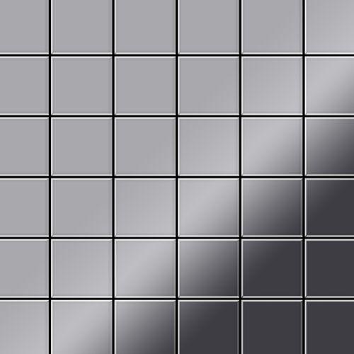 Mosaik Fliese massiv Metall Edelstahl hochglänzend in grau 1,6mm stark ALLOY Cinquanta-S-S-M 0,94 m2 – Bild 1