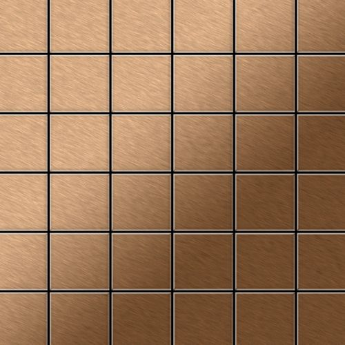 Mosaik Fliese massiv Metall Titan gebürstet in kupfer 1,6mm stark ALLOY Cinquanta-Ti-AB 0,94 m2 – Bild 1
