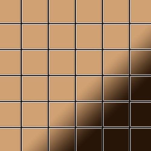 Mosaik Fliese massiv Metall Titan hochglänzend in kupfer 1,6mm stark ALLOY Cinquanta-Ti-AM 0,94 m2 – Bild 1