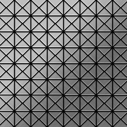 Mozaïektegels massief metaal roestvrij staal Marine geborsteld grijs 1,6 mm dik ALLOY Deco-S-S-MB  – Bild 1