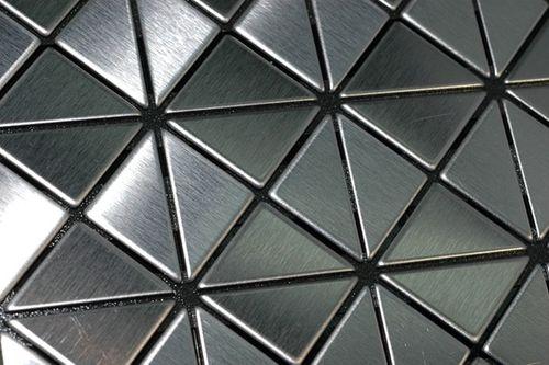 Mozaïektegels massief metaal roestvrij staal Marine geborsteld grijs 1,6 mm dik ALLOY Deco-S-S-MB  – Bild 4
