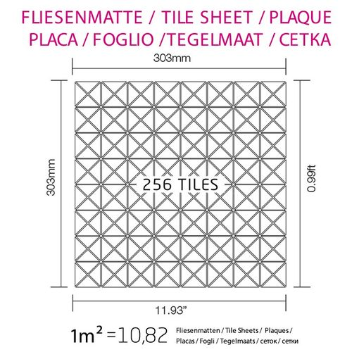 Mosaïque métal massif Carrelage Titane miroir Smoke gris foncé Grosseur 1,6mm ALLOY Deco-Ti-SM 1 m2 – Bild 4