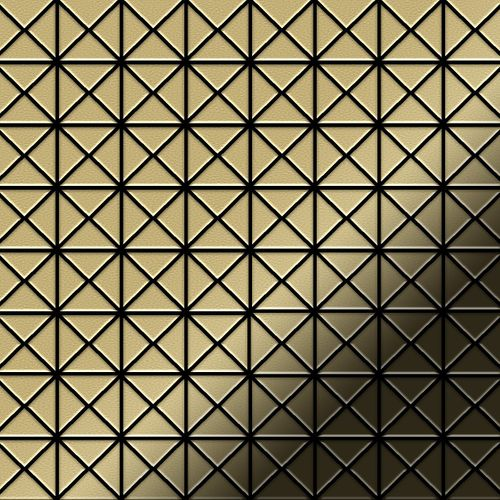 Mosaik Fliese massiv Metall Messing gewalzt in gold 1,6mm stark ALLOY Deco-BM 0,92 m2 – Bild 1