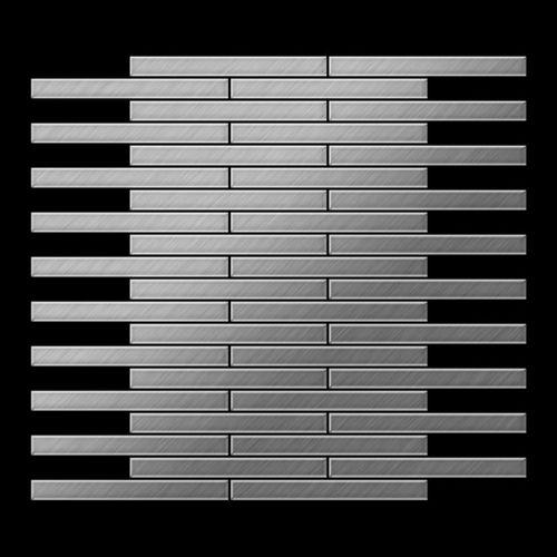 Mosaik Fliese massiv Metall Edelstahl gebürstet in grau 1,6mm stark ALLOY Deedee-S-S-B 0,63 m2 – Bild 3
