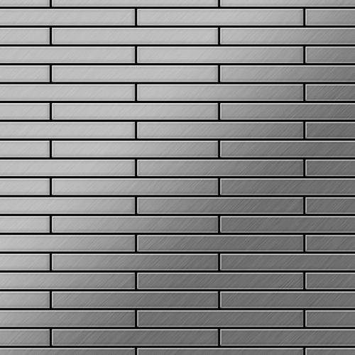 Mosaik Fliese massiv Metall Edelstahl gebürstet in grau 1,6mm stark ALLOY Deedee-S-S-B 0,63 m2 – Bild 1