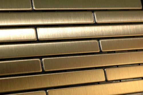 Azulejo mosaico de metal sólido Titanio Gold cepillado oro 1,6 mm de grosor ALLOY Deedee-Ti-GB 0,63 m2 – Imagen 6