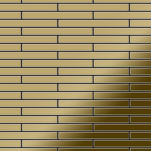 Azulejo mosaico de metal sólido Titanio Gold espejo oro 1,6 mm de grosor ALLOY Deedee-Ti-GM 0,63 m2 – Imagen 1