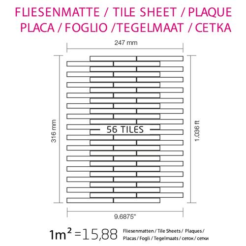 Azulejo mosaico de metal sólido Titanio Smoke espejo gris oscuro 1,6 mm de grosor ALLOY Deedee-Ti-SM 0,63 m2 – Imagen 4