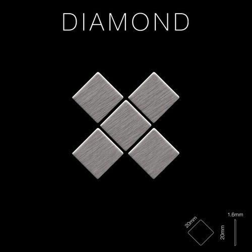 Azulejo mosaico de metal sólido Acero inoxidable cepillado gris 1,6 mm de grosor ALLOY Diamond-S-S-B 0,91 m2 – Imagen 2