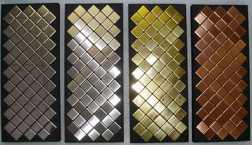 Azulejo mosaico de metal sólido Titanio Amber cepillado cobre 1,6 mm de grosor ALLOY Diamond-Ti-AB 0,91 m2 – Imagen 4