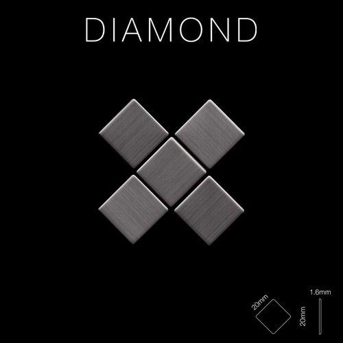 Mozaïektegels massief metaal titaan Smoke geborsteld grijs 1,6 mm dik ALLOY Diamond-Ti-SB – Bild 2