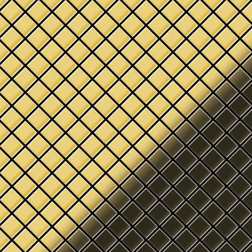 Mosaik Fliese massiv Metall Messing gewalzt in gold 1,6mm stark ALLOY Diamond-BM 0,91 m2 – Bild 1