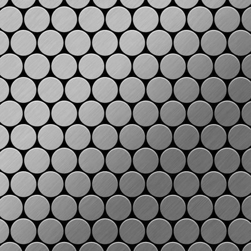 Mozaïektegels massief metaal roestvrij staal Marine geborsteld grijs 1,6 mm dik ALLOY Dollar-S-S-MB  – Bild 1