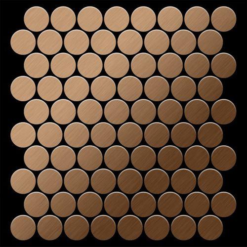 Azulejo mosaico de metal sólido Titanio Amber cepillado cobre 1,6 mm de grosor ALLOY Dollar-Ti-AB 0,88 m2 – Imagen 3