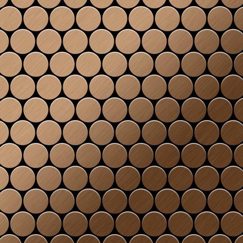 Azulejo mosaico de metal sólido Titanio Amber cepillado cobre 1,6 mm de grosor ALLOY Dollar-Ti-AB 0,88 m2 – Imagen 1