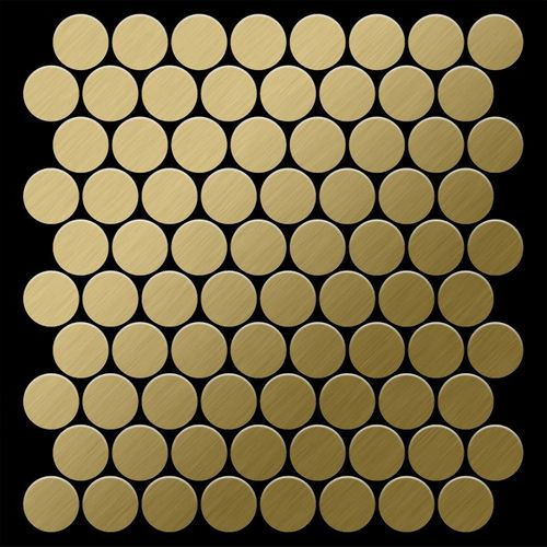 Mosaik Fliese massiv Metall Titan gebürstet in gold 1,6mm stark ALLOY Dollar-Ti-GB 0,88 m2 – Bild 3