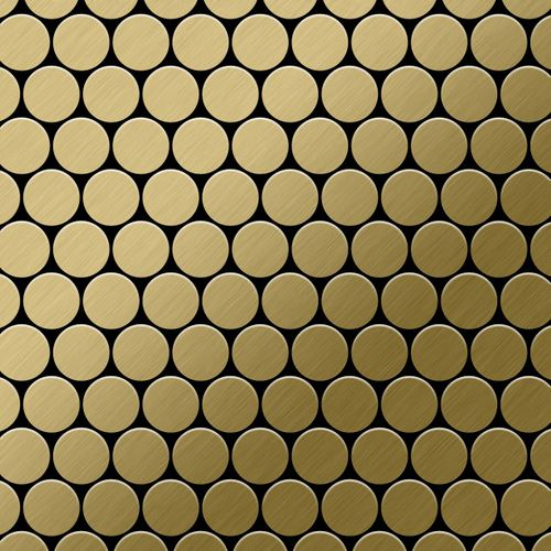Mosaik Fliese massiv Metall Titan gebürstet in gold 1,6mm stark ALLOY Dollar-Ti-GB 0,88 m2 – Bild 1