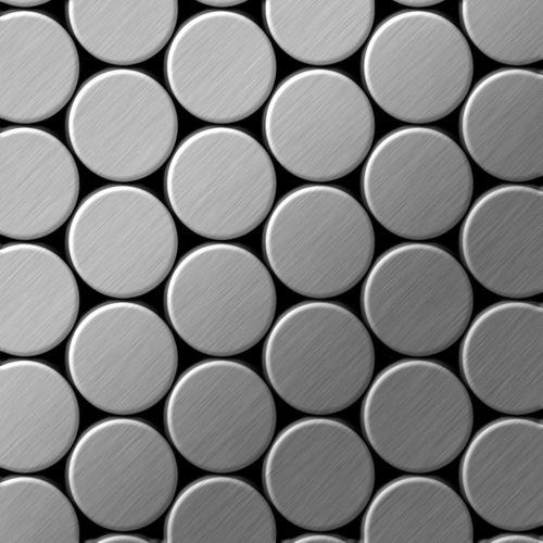 Mosaik Fliese massiv Metall Edelstahl gebürstet in grau 1,6mm stark ALLOY Dome-S-S-B 0,73 m2 – Bild 1