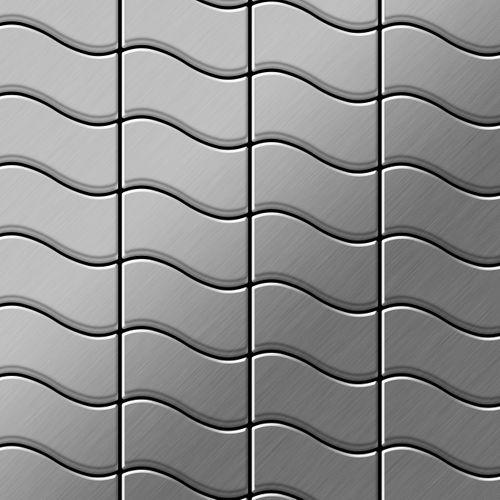 Mozaïektegels massief metaal roestvrij staal geborsteld grijs 1,6 mm dik ALLOY Flux-S-S-B ontworpen door Karim Rashid – Bild 1