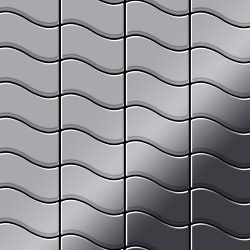 Mozaïektegels massief metaal roestvrij staal Marine hoogglanzend grijs 1,6 mm dik ALLOY Flux-S-S-MM ontworpen door Karim Rashid – Bild 1