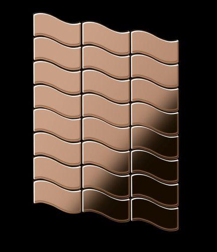Azulejo mosaico de metal sólido Titanio Amber espejo cobre 1,6 mm de grosor ALLOY Flux-Ti-AM diseñado por Karim Rashid 0,86 m2 – Imagen 3
