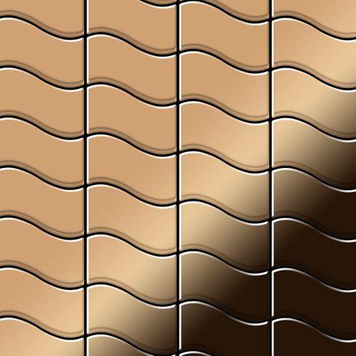 Mozaïektegels massief metaal titaan Amber hoogglanzend koperrood 1,6 mm dik ALLOY Flux-Ti-AM ontworpen door Karim Rashid – Bild 1