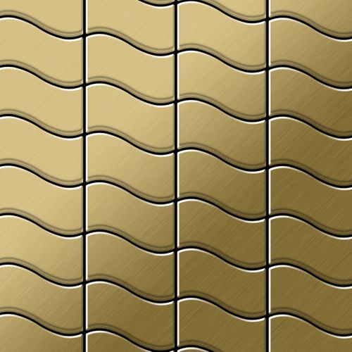 Mosaik Fliese massiv Metall Titan gebürstet in gold 1,6mm stark ALLOY Flux-Ti-GB Designed by Karim Rashid 0,86 m2 – Bild 1