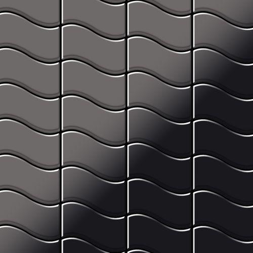 Mozaïektegels massief metaal titaan Smoke hoogglanzend grijs 1,6 mm dik ALLOY Flux-Ti-SM ontworpen door Karim Rashid – Bild 1