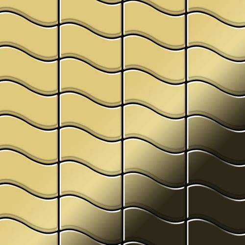 Mosaik Fliese massiv Metall Messing gewalzt in gold 1,6mm stark ALLOY Flux-BM Designed by Karim Rashid 0,86 m2 – Bild 1