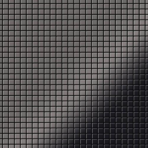 Mosaik Fliese massiv Metall Titan hochglänzend in dunkelgrau 1,6mm stark ALLOY Glomesh-Ti-SM 1,07 m2 – Bild 1