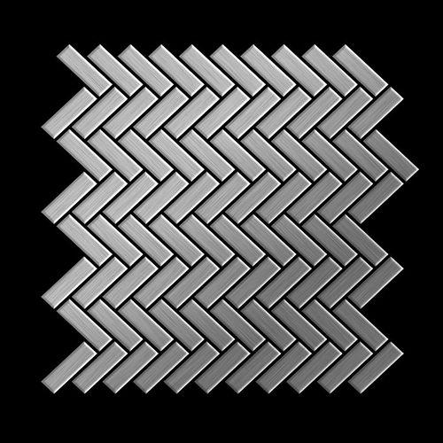 Mosaik Fliese massiv Metall Edelstahl gebürstet in grau 1,6mm stark ALLOY Herringbone-S-S-B 0,85 m2 – Bild 3