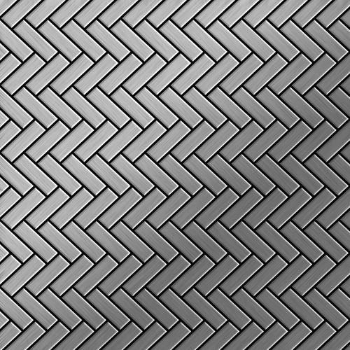 Azulejo mosaico de metal sólido Acero inoxidable cepillado gris 1,6 mm de grosor ALLOY Herringbone-S-S-B 0,85 m2