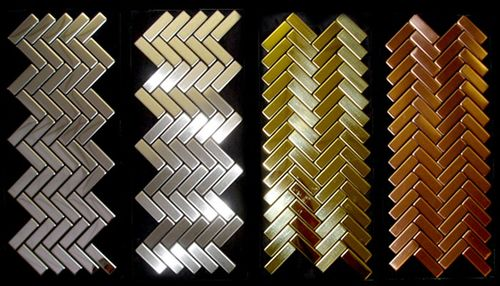 Mosaik Fliese massiv Metall Edelstahl hochglänzend in grau 1,6mm stark ALLOY Herringbone-S-S-M 0,85 m2 – Bild 4
