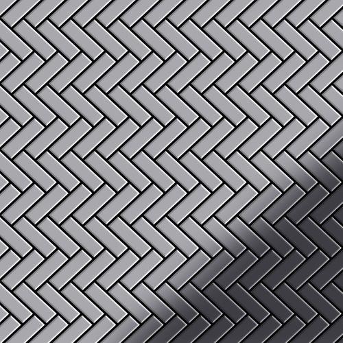 Azulejo mosaico de metal sólido Acero inoxidable pulido espejo gris 1,6 mm de grosor ALLOY Herringbone-S-S-M 0,85 m2